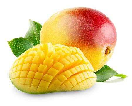 mango fruta: Mango con las rebanadas en un fondo blanco. Foto de archivo