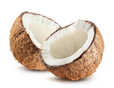 ココナッツの白い背景で隔離の半分。 写真素材