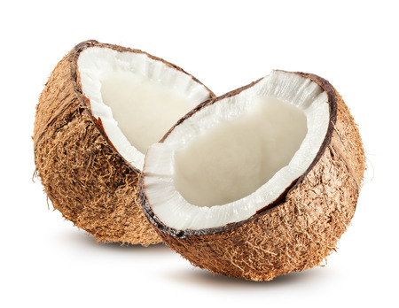 half of coconut isolated on white background. Stockfoto