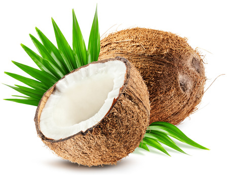 coconut and leaf isolated on white background.