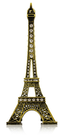 Eiffel Tower: Miniature of the Eiffel Tower isolated on the white background. Stock Photo
