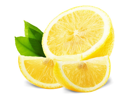 fresh leaf: lemon slices with leaves isolated on the white background. Stock Photo