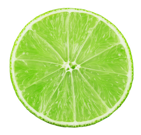 lime slice isolated on white background. 스톡 콘텐츠