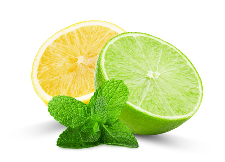 half of lime and lemon with mint leaves isolated on the white background.