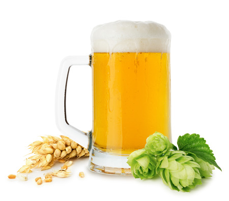 jug of beer with wheat and hops isolated on the white background. photo