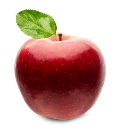 red apple with leaf isolated on the white background. Stock Photo