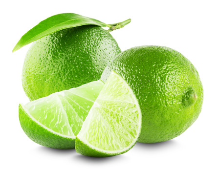 Lime with slices and leaf isolated on white background. 版權商用圖片