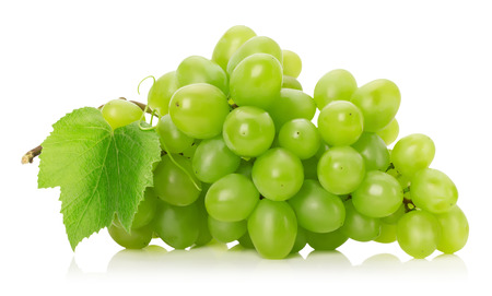 white grapes: green grapes  isolated on the white background.