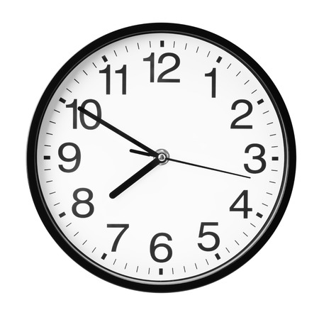 wall clock isolated on the white background. 스톡 콘텐츠