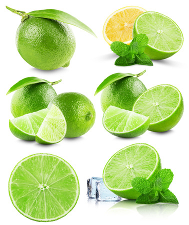 lime fruit: set of limes isolated on the white background. Stock Photo