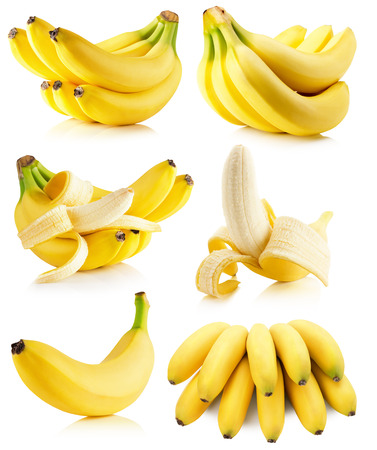set of bananas isolated on the white background.