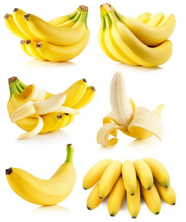 set of bananas isolated on the white background.