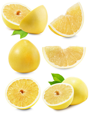 白い背景で隔離ポメロまたは中国のグレープ フルーツのセットです。 写真素材