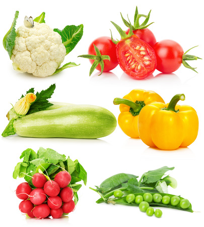 collection of vegetables isolated on the white background.