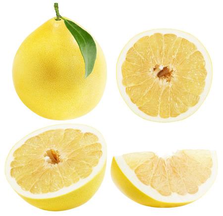 freshest: set of Pomelo or Chinese grapefruits isolated on the white background. Stock Photo