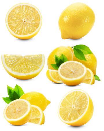 limón: conjunto de limones aislados sobre el fondo blanco.
