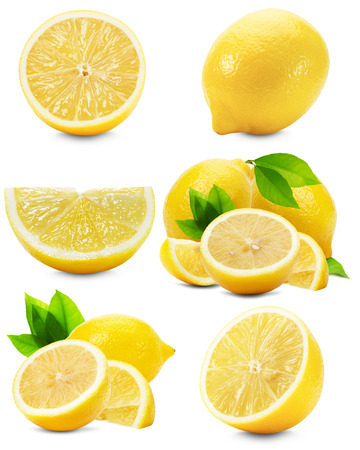 set of lemons isolated on the white background.