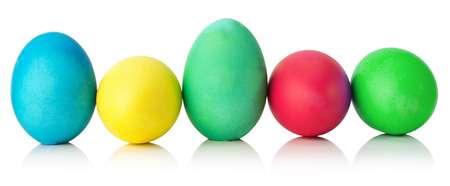 colorful Easter eggs isolated on the white background. photo