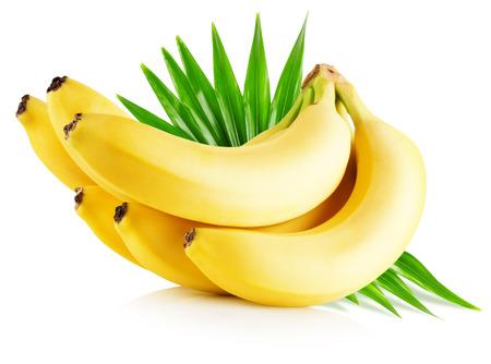 白い背景で隔離の葉とバナナ。 写真素材