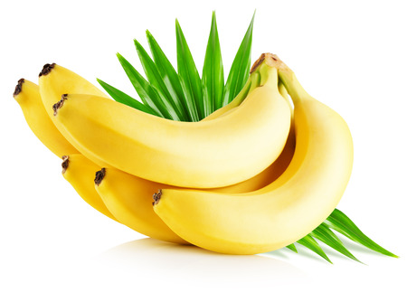 bananas with leaves isolated on the white background.