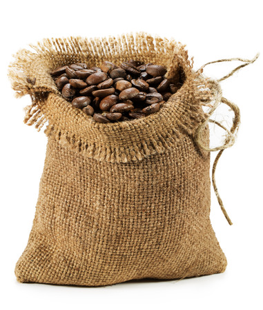 gunny: bag with coffee beans isolated on white background. Stock Photo