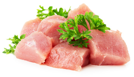 meat with parsley isolated on white background.