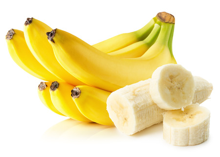 바나나는 흰색 배경에 고립입니다. 스톡 콘텐츠