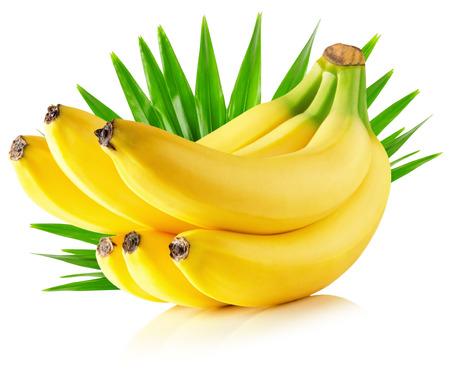 platano maduro: plátanos con hojas aisladas sobre fondo blanco.