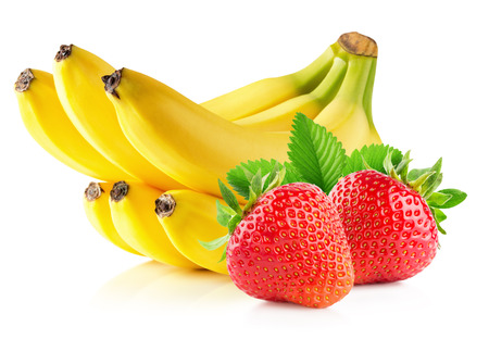 isolated on yellow: Strawberries and banana isolated on the white background. Stock Photo