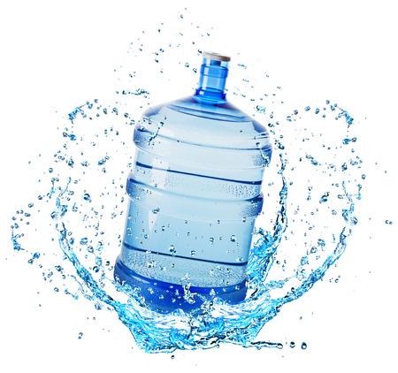 big water bottle in water splash isolated on white background. Standard-Bild