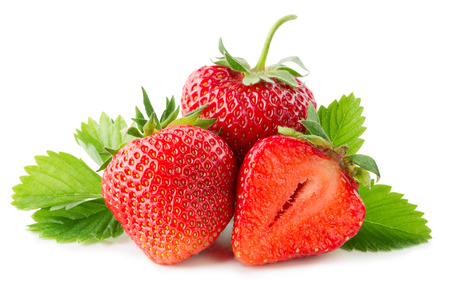 strawberries isolated on the white background.