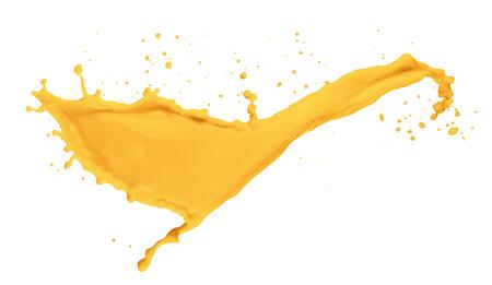succo di frutta: succo d'arancia spruzzata isolato su sfondo bianco.