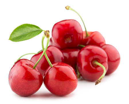 cherry: juicy cherries isolated on the white background.
