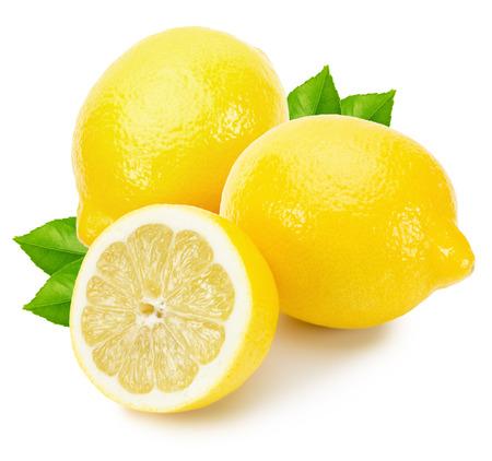 맛있는 레몬 흰색 배경에 고립입니다.