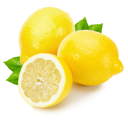 tasty lemons isolated on the white background.