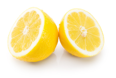 two and a half: two half of lemons isolated on the white background. Stock Photo