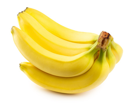banana skin: Bananas on the white background. Stock Photo