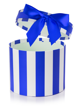 blue gift box: blue gift box with white stripes isolated on the white background.