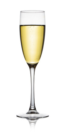 isolated of white: Champagne in a glass. Isolated on white background.