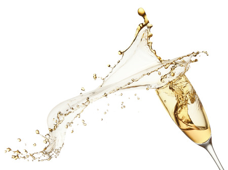 champagne splash from glass isolated on the white background.