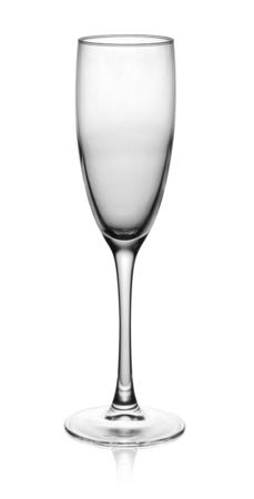 champagne glass: empty champagne glass isolated on the white background. Stock Photo