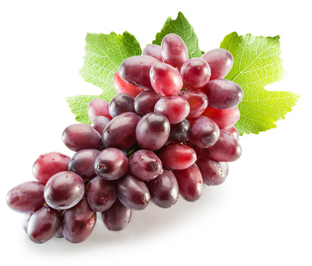 wine  pink: Pink grapes with leaves isolated on the white background.