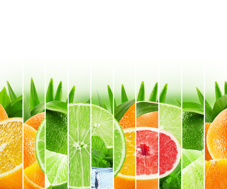 juice splash: Rainbow colorful citrus fruits stripe collection on the white background.