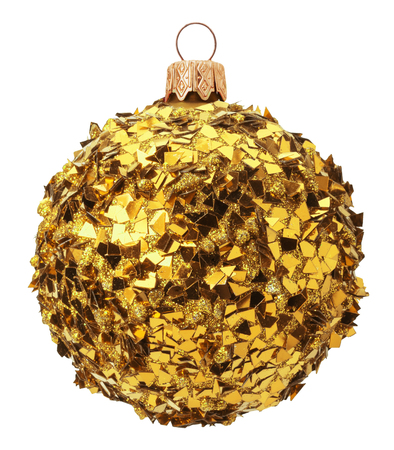golden ball: golden sparkling Christmas ball isolated on the white background.