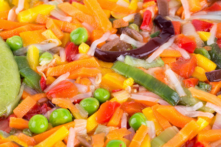 fry: close up of cut vegetable mix. Stock Photo