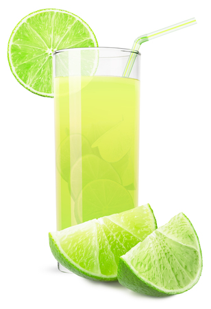 glass of lime juice isolated on white background.