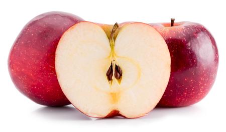 manzana: manzanas rojas aisladas en el fondo blanco. Foto de archivo