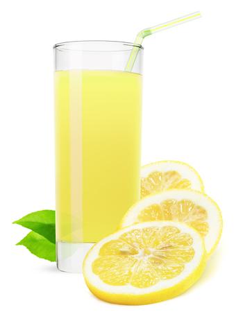 lemonade: vaso de jugo de limón aislado sobre fondo blanco. Foto de archivo