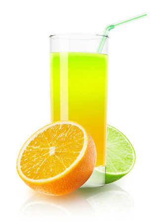 fresh juice: glass of orange and lime juice on the white background.