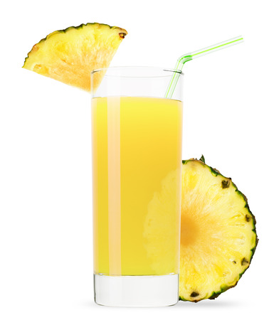cocktails: glass of pineapple juice isolated on white background.
